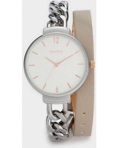 Часы с круглым циферблатом серебряные Parfois
