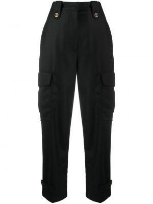 Брючные черные укороченные брюки с карманами с высокой посадкой Pt01