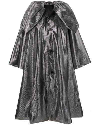 Длинное пальто с капюшоном на пуговицах металлическое Comme Des Garçons Noir Kei Ninomiya