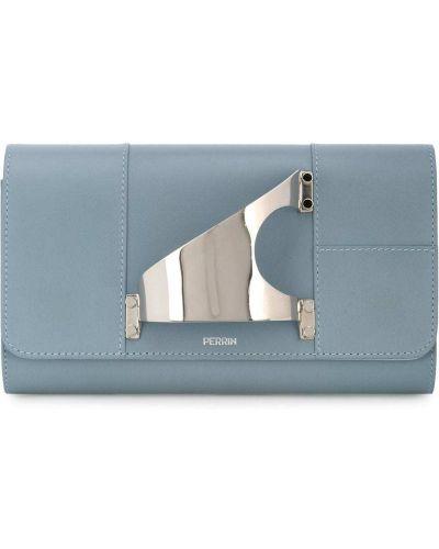Кожаная синяя сумка Perrin Paris