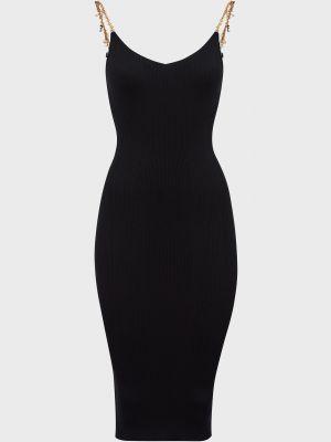 Шелковое платье - черное Elisabetta Franchi