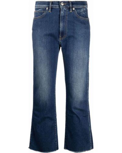 Укороченные хлопковые джинсы клеш на молнии 3x1