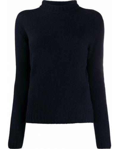 С рукавами шерстяной темно-синий вязаный джемпер с опушкой Aragona