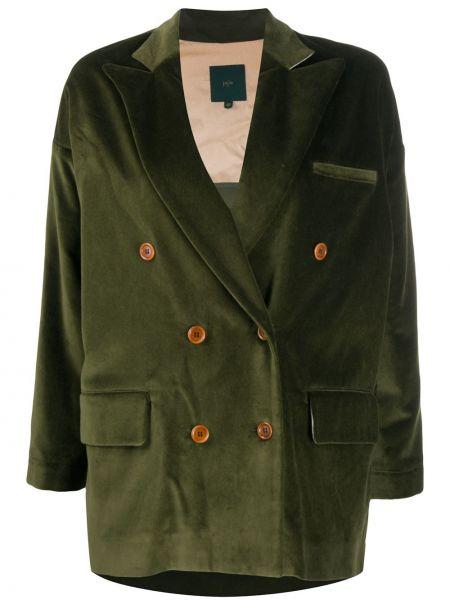 Бархатный удлиненный пиджак двубортный с карманами Jejia
