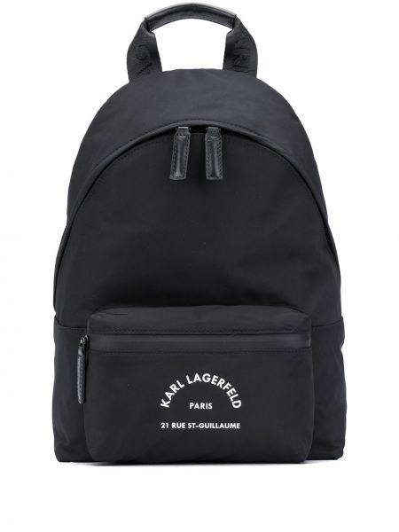Черная кожаная сумка круглая на молнии с карманами Karl Lagerfeld