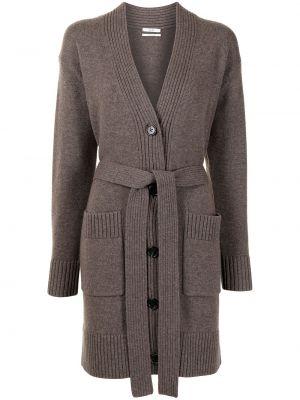 Коричневое кашемировое длинное пальто с карманами Co