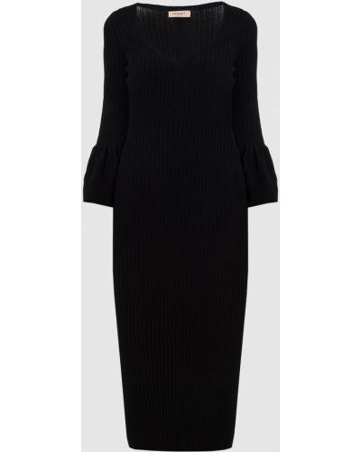 Платье миди в рубчик - черное Twin-set