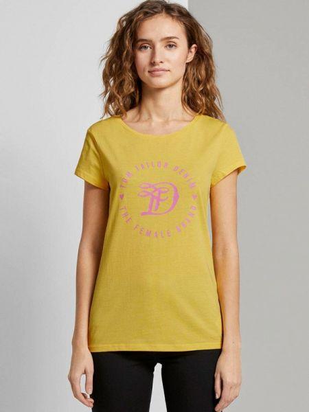 Желтая футбольная футболка Tom Tailor Denim