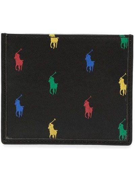 Черный кожаный кошелек с тиснением Polo Ralph Lauren