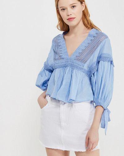 Голубая блузка с рюшами Free People