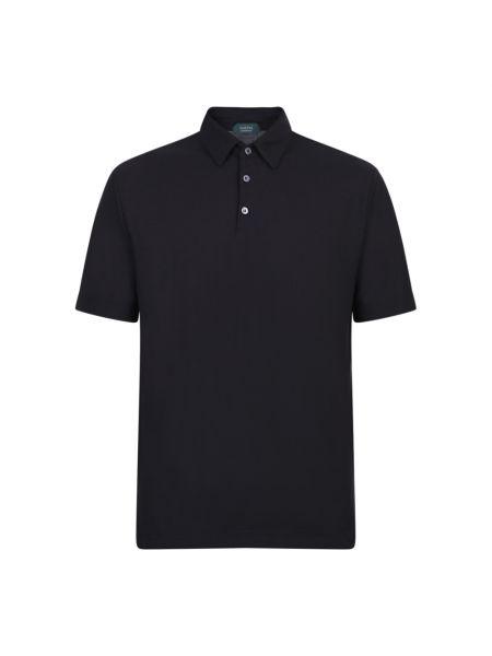 Czarna koszulka krótki rękaw Zanone