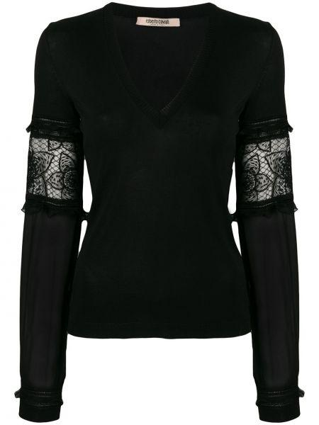 Черный ажурный свитер в рубчик узкого кроя Roberto Cavalli