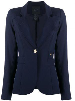 Шерстяной однобортный синий классический пиджак Smythe