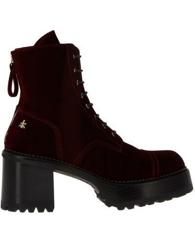 Кожаные ботинки на тракторной подошве бордовые Premiata