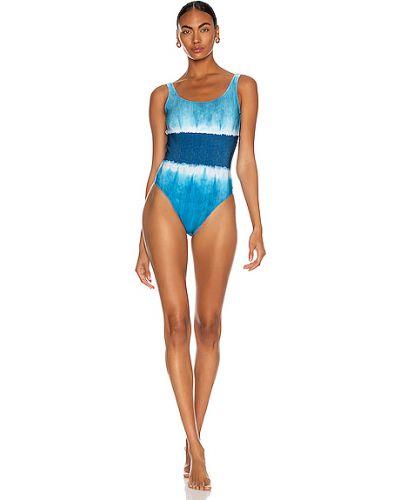 Шифоновый кружевной синий слитный купальник Alberta Ferretti