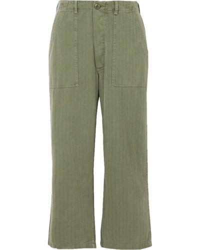 Хлопковые прямые зеленые укороченные брюки The Great.