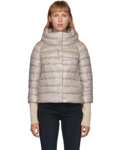 Серебряная нейлоновая стеганая куртка с воротником с подкладкой Herno