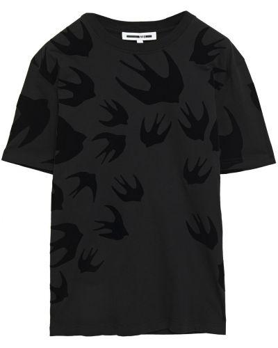 Ватная трикотажная черная футболка Mcq Alexander Mcqueen