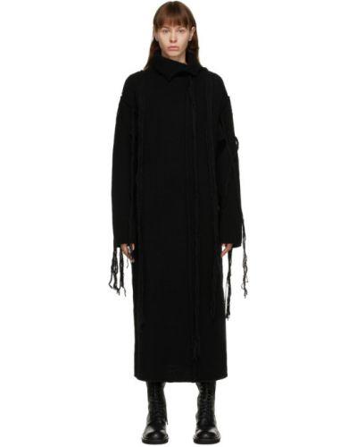 Шерстяное черное платье макси с воротником с длинными рукавами Yohji Yamamoto