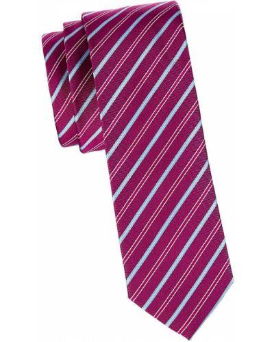 Różowy krawat w paski z jedwabiu Boss Hugo Boss