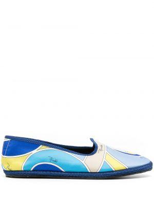 Niebieskie loafers płaska podeszwa z printem Emilio Pucci