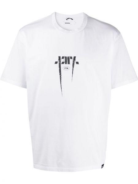Прямая белая хлопковая футболка с круглым вырезом Nemen