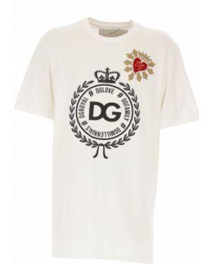 Koszulka polo z dżetów biały Dolce And Gabbana
