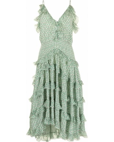 Шелковое зеленое платье миди с вырезом Ermanno Scervino