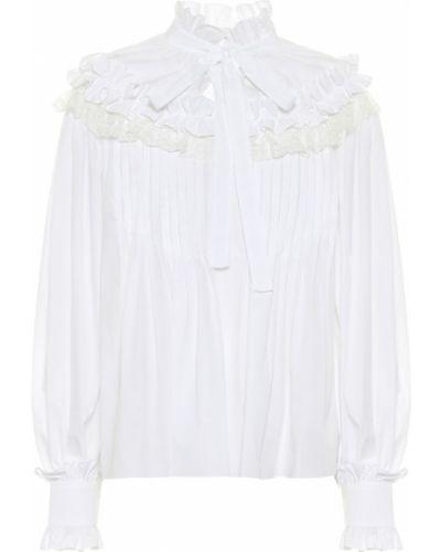 Плиссированная белая блузка из вискозы Dolce & Gabbana
