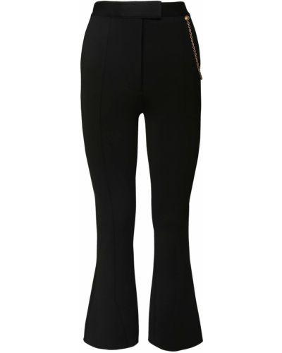 Czarny z wysokim stanem rozbłysnął spodnie z kieszeniami Givenchy
