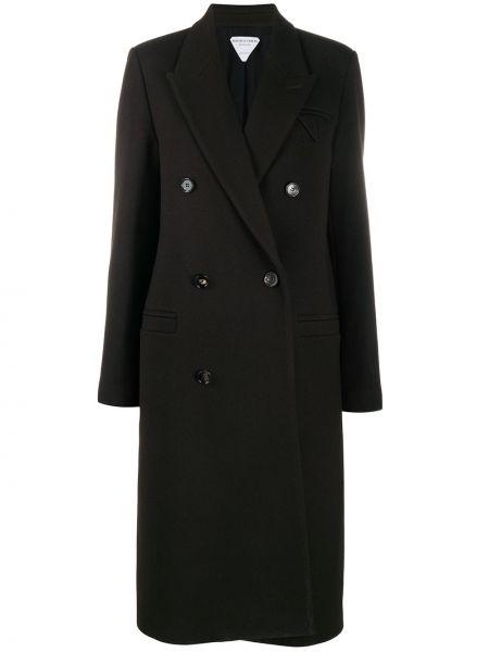 Шерстяное черное длинное пальто на пуговицах Bottega Veneta