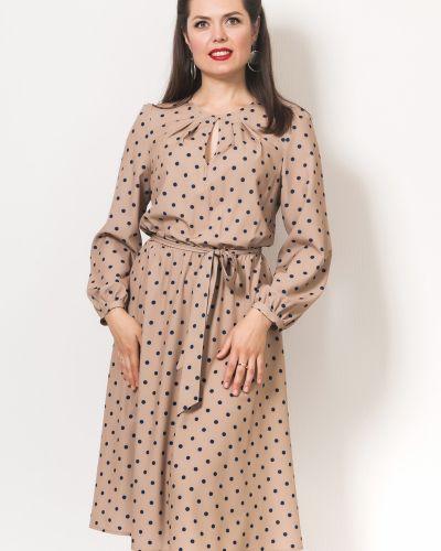 Приталенное платье миди на торжество на резинке с вырезом Modellos