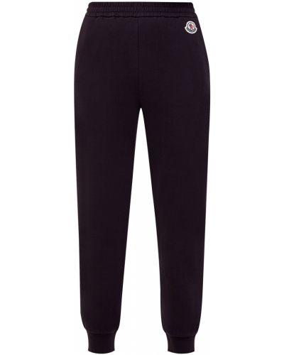 Хлопковые черные спортивные брюки с поясом Moncler