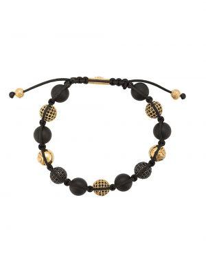 С цирконием с ониксом черный браслет позолоченный Nialaya Jewelry