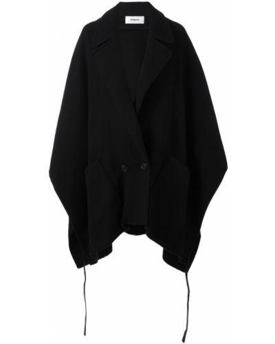 Шерстяное черное пальто с капюшоном Chalayan