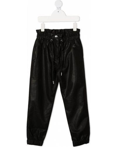 Хлопковые черные укороченные брюки с поясом Alberta Ferretti Kids
