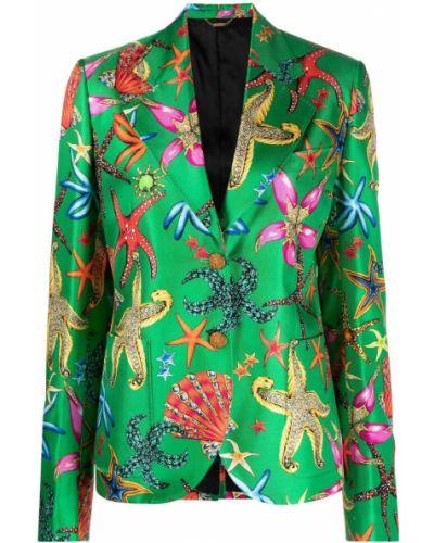 Зеленый удлиненный пиджак для полных с накладными карманами Versace