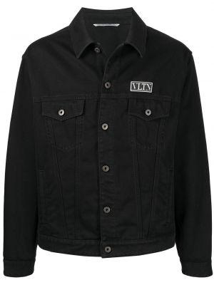 Черная куртка с воротником с нашивками Valentino
