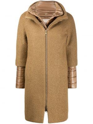 Beżowy płaszcz wełniany z długimi rękawami Herno