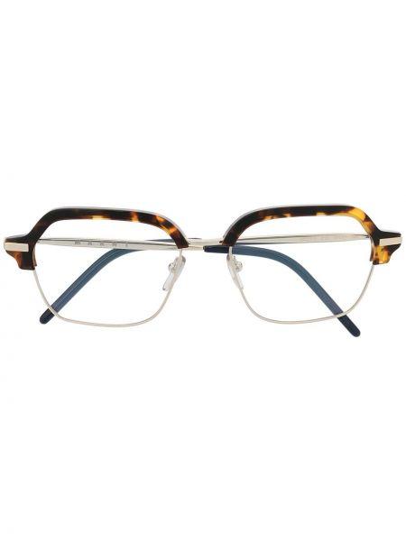 Серебряные очки квадратные металлические прозрачные Marni Eyewear