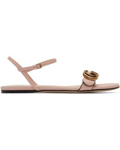 Z paskiem skórzany czarny sandały z klamrą Gucci