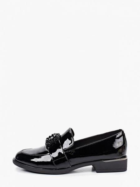 Лаковые кожаные черные лоферы Pierre Cardin
