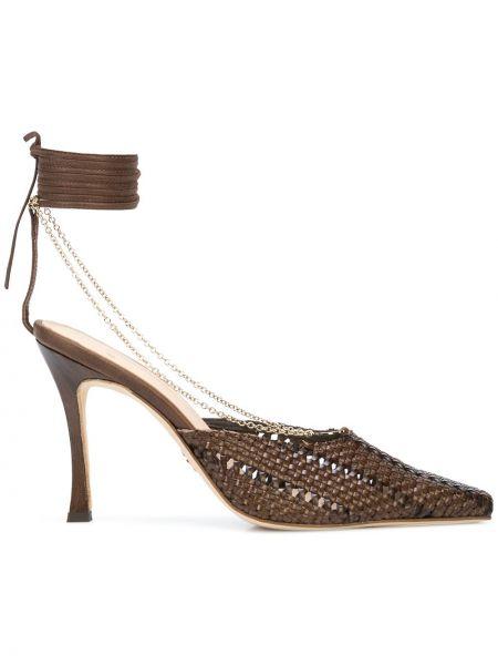 Кожаные коричневые туфли на высоком каблуке с завязками на каблуке Brother Vellies