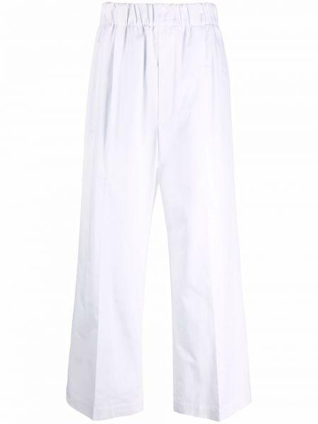 С завышенной талией хлопковые белые брюки Jejia