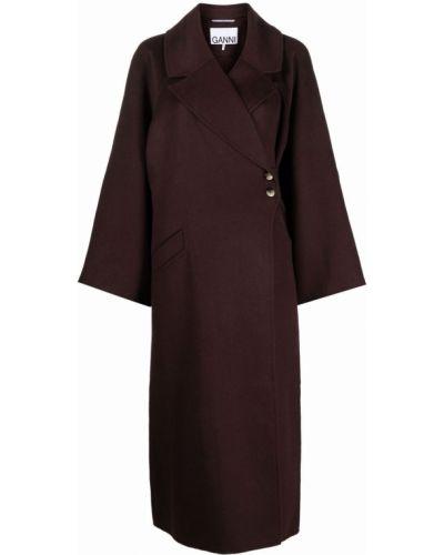 Коричневое пальто из вискозы Ganni