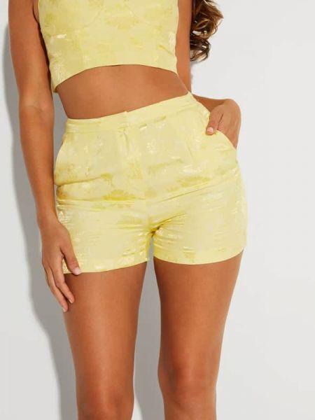 Żółte szorty z wiskozy z printem Marciano Guess