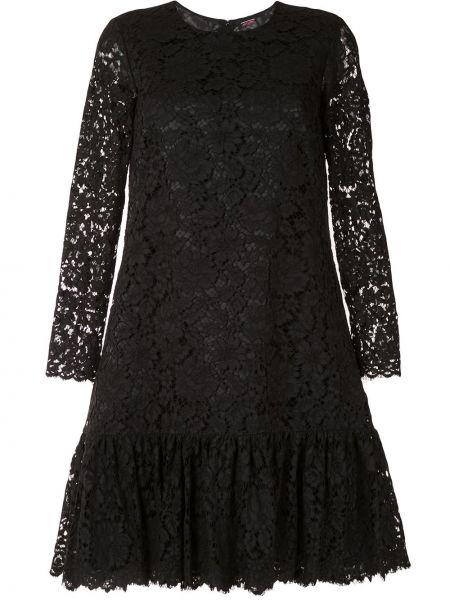 Нейлоновое черное платье макси с длинными рукавами с круглым вырезом Adam Lippes