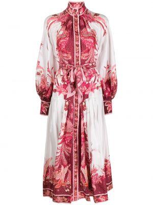 Платье макси розовое на пуговицах Zimmermann