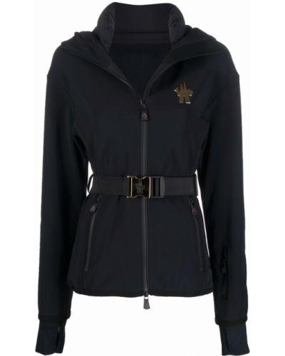 Czarny płaszcz z kapturem Moncler Grenoble