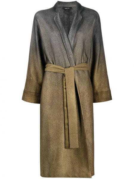Свободное зеленое кашемировое пальто с запахом Avant Toi